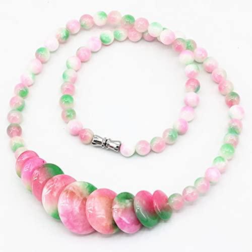 XIAOLONG Collar de Cuentas de Piedra Natural Multicolor 6 Mm Collares Redondos de jades Colgante de Moneda para Mujeres 10-20 Mm Joyas de calcedonia 18 Pulgadas B3391