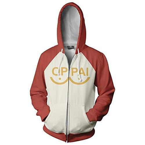 Uniex One Punch Man Hoodie Felpa con Cappuccio Saitama 3D Stampa Felpa con Coulisse con Zip Costume Cosplay (Color : 2, Size : S)