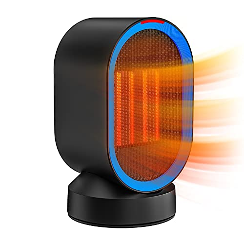 Portable Space Heater, NOZZKOOP Personal Desk Heater for office, Small heater with tip over and Overheat Protection, KIOUDlC Oscillating Electric Ceramic Space Heater for indoor use and bedroom