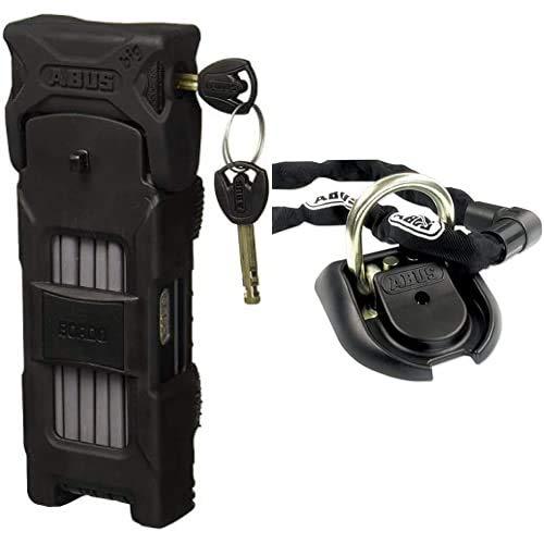 Abus 6000 / 120 - Candado plegable para bicicleta + 27161 Anclaje antirrobo de pared / piso, 1 unidad, negro