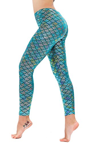 Diamond keep it Women's Mermaid Fish Scale Printing Full Length Leggings (Large, Baby Blue)
