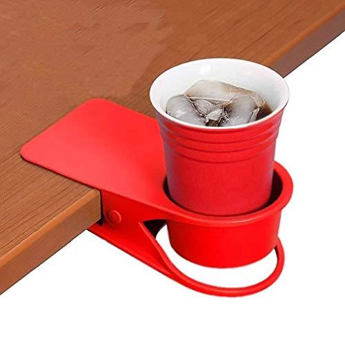 TOUTOU Soporte para Taza de Bebida, Soporte para Mesa de Cristal para Botellas de Cerveza, Bebidas, Soda, café, Taza, platillo, diseño de Clip, para el hogar y la Oficina (Rojo)