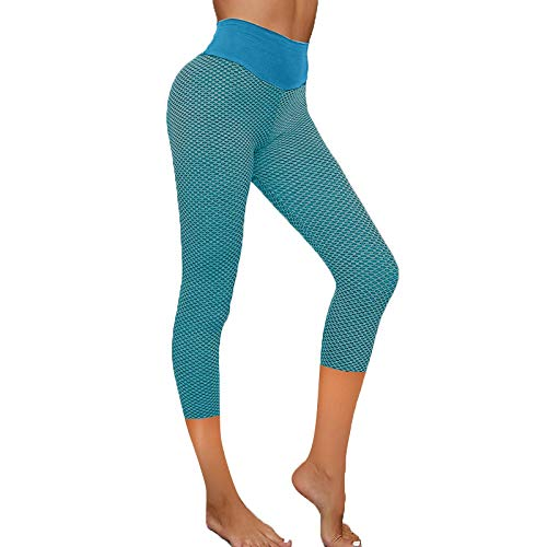 YANFANG Leggings de Yoga elásticos para Mujer, Fitness Correr Gimnasio Bolsillos Deportivos Pantalones Activos,Ropa de Chandal,, XXL,Blue