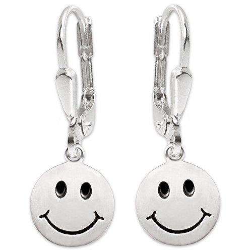 CLEVER SCHMUCK Silberne Damen Ohrringe als Ohrhänger 27 mm Smiley Ø 12 mm seidenmatt mit Augen und Mund schwarz lackiert Sterling Silber 925