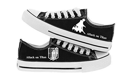 pZgfg Canvas Shoes Unisex Anime Attack On Titan Eren Mikasa Ackerman Lässige Niedrige Leinenschuhe Segeltuchschuhe Seilsohlen Schuhe A 39