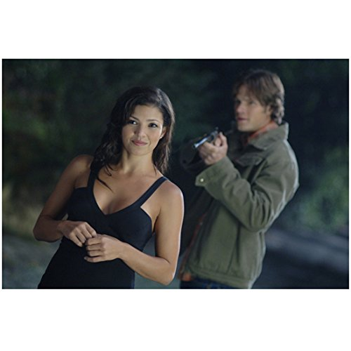 Supernatural Sandra McCoy as Crossroads Demon Smiling Jared Padalecki as Sam Winchester Standing Behind 8 x 10 Inch Photo