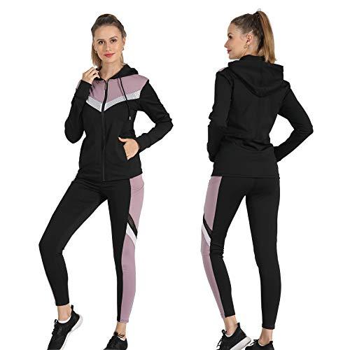 Active Wear Sets-Women's Workout Clothes Gym Wear Track Suits Yoga Jacket Pants Vest 3 Pieces Set Dusty Pink
