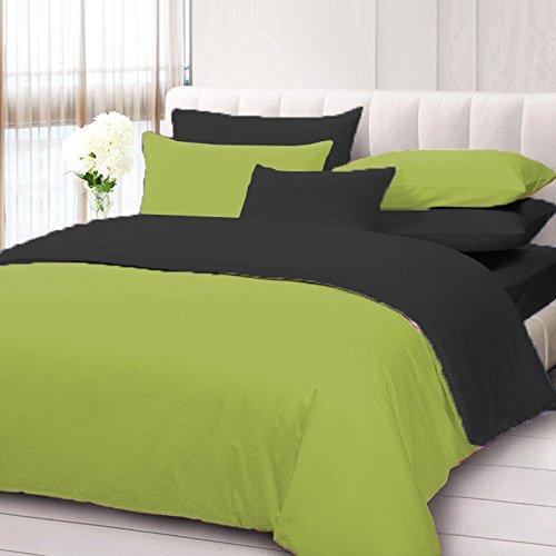 Biancheria da letto, 5 pezzi, reversibile, set copripiumino con federa extra in cotone egiziano 600 TC, taglia matrimoniale e colore nero