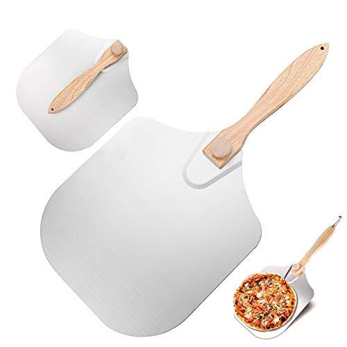 Pala Pizza, Cáscara de Pizza con Plegable, Pala de Aluminio para Pizza con Mango de Madera (Plata)