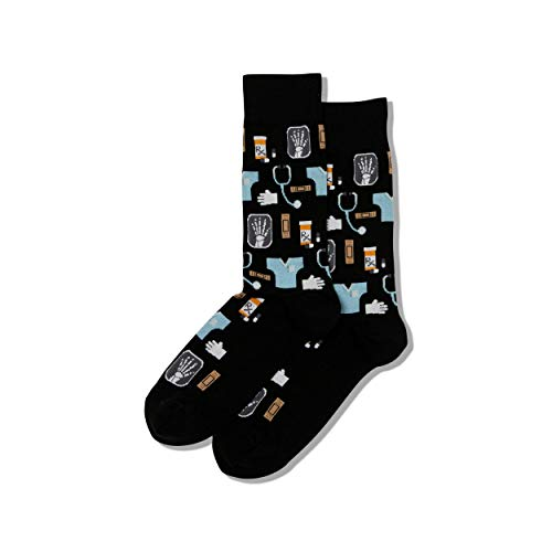 Hot Sox Men's Conversational Slack Crew Socks, Medical (Black), Shoe Size 6-12 / Sock Size 10-13
