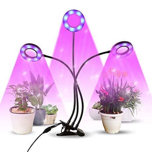 infinitoo LED Lampe de Plante, Lampe de Croissance à 3 Têtes 60 LEDs, Lampe Horticole Spectre Complet avec 9 Modes de Luminosité & Chronométrage Auto - on/Off, Parfait pour Intérieur/Jardin