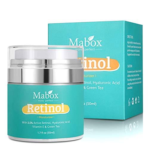 Crema de Retinol, Crema hidratante retinol para Día y Noche, Hidratante de Rostro y Crema Antiarrugas Antienvejecimiento - con 2,5% Retinol, Vitamina E, ácido hialurónico, té verde-50ml
