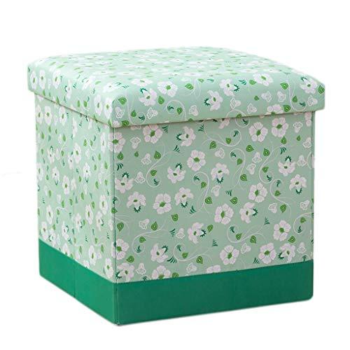 Wddwarmhome Cloth Art - Tabouret de Rangement pour boîte de Rangement de ménage avec Pouf Pliable - Poids Maximal 100 kg - Facile à Nettoyer (Couleur : Green, Taille : 38 * 38 * 38cm)