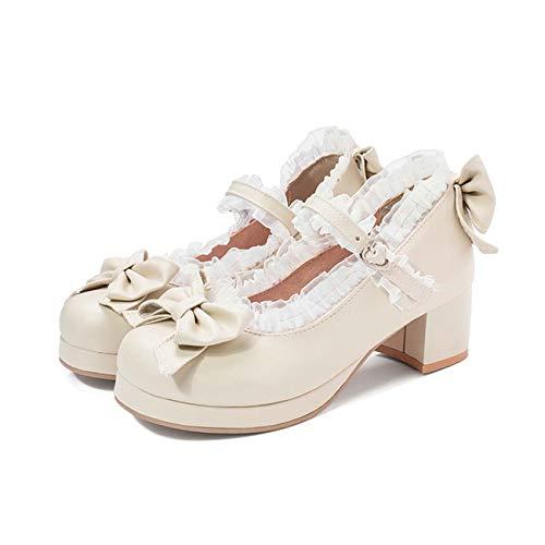 JOEupin Mujer Lolita Zapatos Tacón medio Bloque Mary Jane Rockabilly Zapatos de tacón con lazo, beige (Beige), 37.5 EU