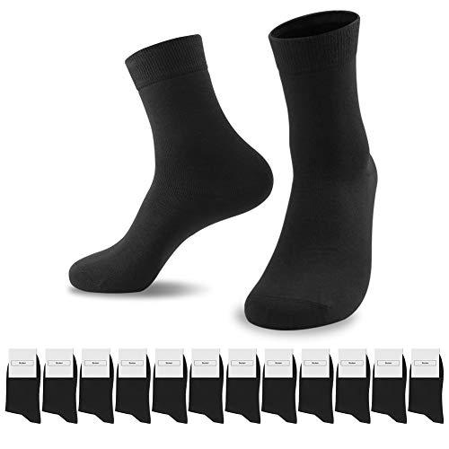 SmartQian 12 Paar Socken Herren Damen Baumwollsocken Schwarz für Business Komfort-Bund Unisex(Schwarz×12, 43-46)
