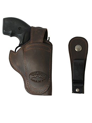 New Barsony Brown Leather Ambidextrous 360Carry 12 Option Holster for Ruger LCR 38, 22
