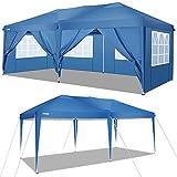 cobizi 3X6M Pavillon Pop Up Baldachin Hochzeitsfeier Zelt Lagerung Shelter Outdoor Gazebo Beach Camping Baldachin mit 6 abnehmbaren Seitenwänden (Blau)