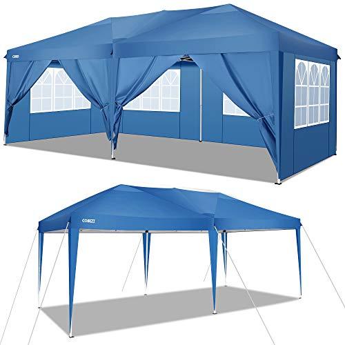 COBIZI 10'x20 'Pop Up Canopy Carpa de Fiesta de Boda Refugio de Almacenamiento Gazebo al Aire Libre Playa Toldo de Camping con 6 Paredes Laterales extraíbles