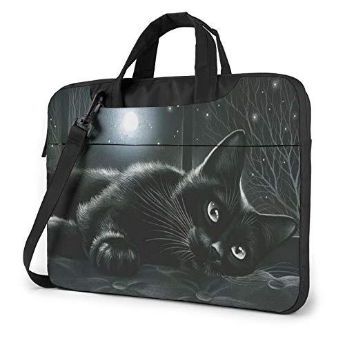 Bolsa de hombro para portátil – Tela africana impresa a prueba de golpes impermeable para portátil, Gato negro en luz de luna (Dorado) - 259841