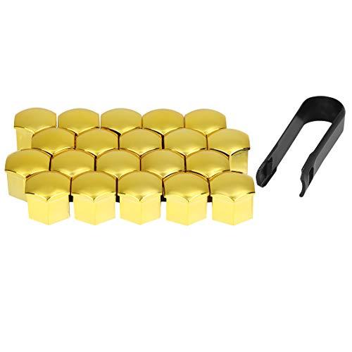 X AUTOHAUX 20Stk. 21mm Gold Plastik Auto Radmutter Radnabe Abdeckung Staubkappen