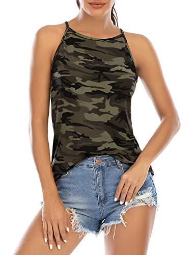 LouKeith Camo Print Sleeveless Tops for Women Halter Racerback Tank Tops Shirts Blouses XL