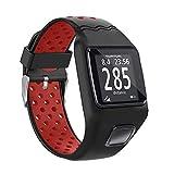 Tosenpo Bracelet de Montre pour Tomtom Multi-Sport GPS/HRM Tomtom Runner 1, Noir/Rouge