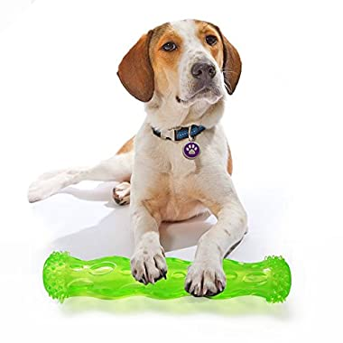 TPR Squeak Chew Toy for Aggressive Chewers Durable Rubber Tooth Cleaning Toy for Dogs Bite Resistant Floating & Suitable For Pool Use Dog chew toy Indestructible for Puppy (L, Green)