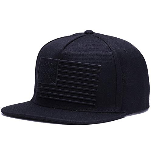 Sporty Snapback Cap U.S.A. Flag Fahne USA Baseballcap gerader Schirm Amerika Kappe Mütze Schirmmütze Basecap (schwarz)