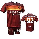 Completo Calcio Maglia Roma El SHAARAWY 92 + Pantaloncino Stampato con Numero 92 Replica Autorizzata 2020-2021 Bambino (Taglie 2 4 6 8 10 12) Adulto (S M L XL) (6 Anni)