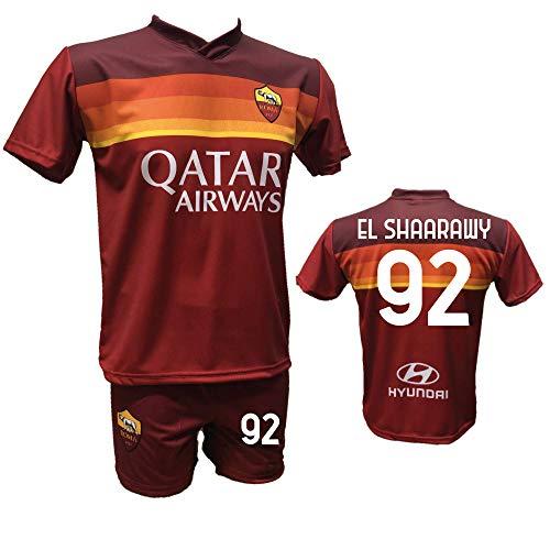Completo Calcio Maglia Roma El SHAARAWY 92 + Pantaloncino Stampato con Numero 92 Replica Autorizzata 2020-2021 Bambino (Taglie 2 4 6 8 10 12) Adulto (S M L XL) (L)