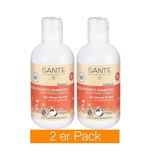 Sante - Cosmético natural, champú hidratante orgánico de mango y aloe, aroma frutal, proporciona hidratación para un cabello brillante, pack doble (2x 200g)