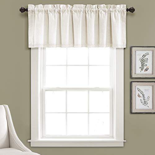 "Lush Decor, Light Linen Lace Window Curtain Valance Dark, 18"" x 52"" + 2"" Header"