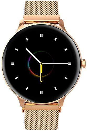Ruosaren X2 - Reloj de pulsera inteligente para mujer (5 ATM, resistente al agua, con pulsómetro y 2 pulseras, compatible con iPhone y Android), color oro rosa