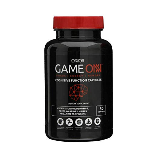 ONNOR Game ONN Advanced Natural Nootropic Brain Supplement, 90 Vegan Capsules, Cognitive Enhancer, Boost Energy, Focus & Mental Performance | L-Tyrosine, Huperzine, Lion's Mane, Alpha GPC, Caffeine