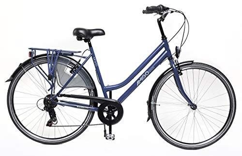 Amigo Moves – Bicicletta da donna – Bicicletta da donna 28 pollici – cambio Shimano a 6 velocità – City Bike con freno a mano, illuminazione e cavalletto – blu