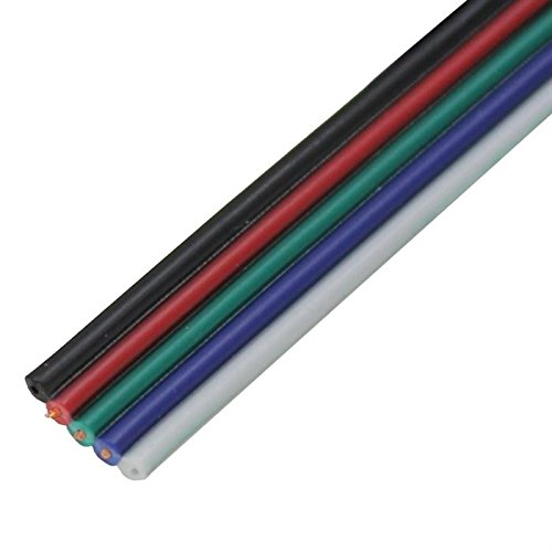 5m RGBW LED Verlängerungskabel Flachleitung Rot Grün Blau Weiß Schwarz