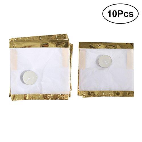 LEDMOMO 10 Stücke Platz Wasser Schwimmende Kerzenlaternen für Birtyday Hochzeit Dekoration (Golden) 15x15x15 cm