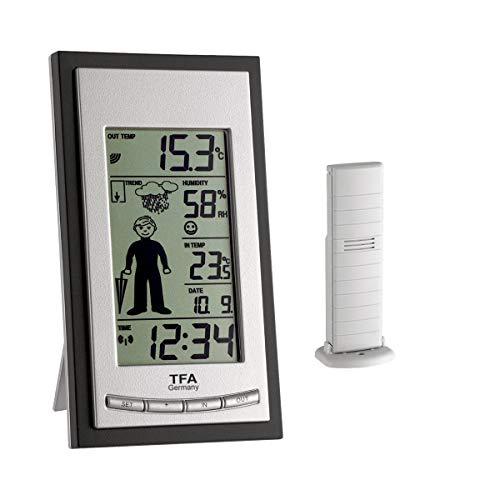 TFA Dostmann WEATHER BOY Funk-Wetterstation, 35.1084, schwarz, Wettervorhersage mit Symbolen, Kleidungsempfehlung, Raumklima, Außentemperatur