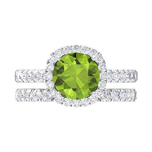 Anillo de compromiso solitario de 8 mm con moissanita, anillo de oro blanco de 14 quilates verde