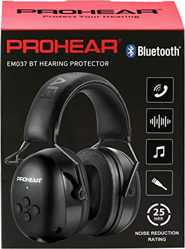 (Upgraded) PROHEAR 037 Bluetooth 5.0 Gehörshutz Kopfhörer mit Eingebautem Mikrofon und Lärmreduzierung für Arbeiten & Vergnügen, SNR 30dB -Schwarz