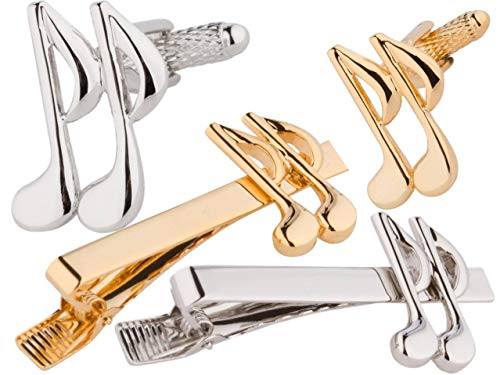 HEI Music Note Cufflinks amp Tie Bar Set Gold and Silver 6 Pieces Smart Elegant