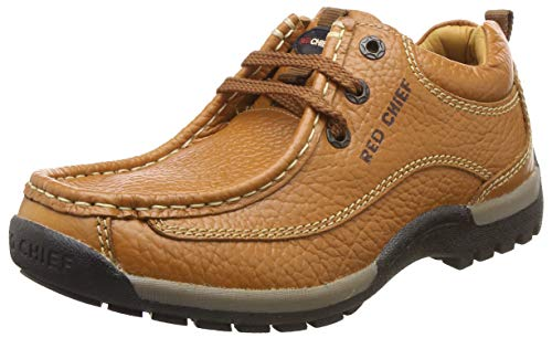 Redchief Men's Elephant Tan Leather Trekking and Hiking Outdoor Boots - 7 UK (RC2104 107)