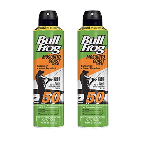 BullFrog Mosquito Coast, 2 in 1 Sunscreen/Insect Repellent, Water Resistant, DEET Free, SPF 50 / THIS IS A 2 PACK of 2.5oz BOTTLES