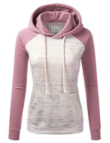 Doublju Basic Lightweight Pullover Hoodie Sweatshirt for Women Mauve 3X
