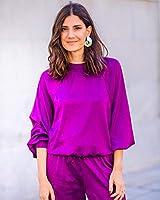 The Drop por @balamoda - Sudadera de satén para mujer, color violeta oscuro (S)