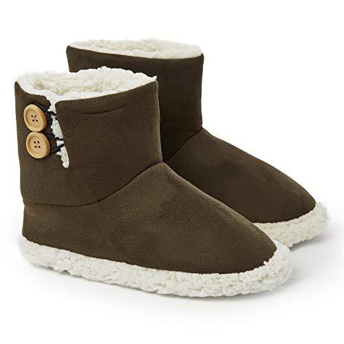 Dunlop Zapatillas Casa Mujer   Zapatillas Calienta Pies Invierno Cerradas   Pantuflas de Casa Regalo para Mujer   Botas Altas Forradas de Borreguito Suela de Goma Dura (37 EU, Caqui)