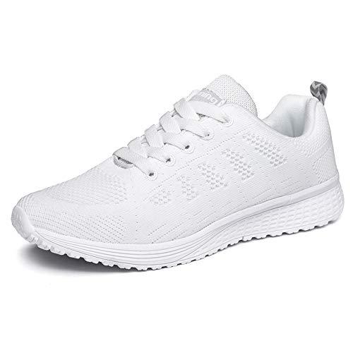 XPERSISTENCE Sport Tennisschuhe Damen Laufschuhe Sneakers Turnschuhe Fitness Gym Leichtes Bequem Schuhe (Weiß 40 EU)