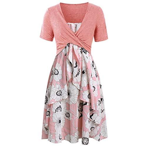 MOMOXI Vestido para Las Mujeres, Vestido Suelto con Estampado Floral de Manga Larga con Hombros Descubiertos para Vintage Falda Grande del Columpio Tallas Grandes Primavera Y Verano Vestidos Verano