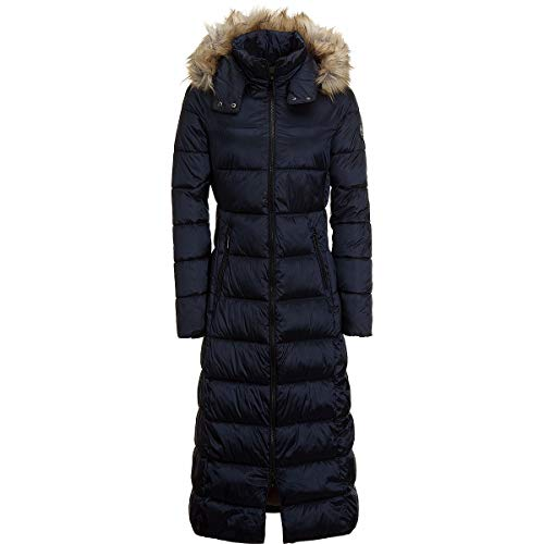 HFX Long Length Faux Fur Hooded Insulated Jacket - Women's Navy Seas, M