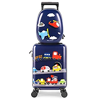 iPlay iLearn Kids Carry On Luggage Set 18  Hardside Rolling Suitcase W/ Spinner Wheels Hard Shell Travel Luggage W/ Backpack for Boys Toddlers Children